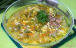 Суп с консервированным зеленым горошком и яйцами в мультиварке