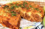 Мясной пирог из лаваша в мультиварке
