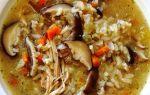 Грибной суп с рисом в мультиварке