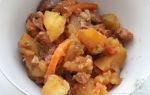 Индейка, тушеная с картофелем и грибами в мультиварке